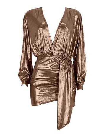 Jessica Bara Raewon Long Sleeve Metallic Dress