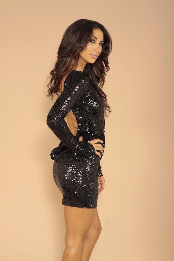 Root Catalog - Leiluna Classic Backless Dress Black Sequins