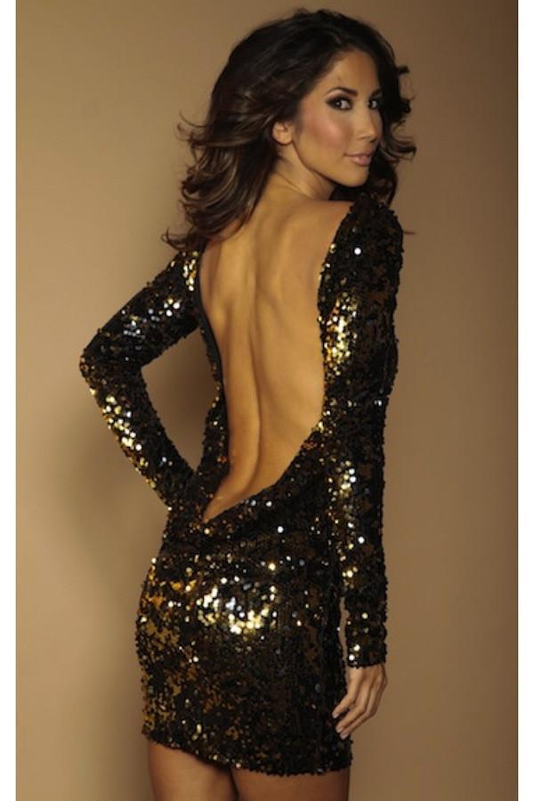 Root Catalog - Leiluna Classic Backless Dress In Flip Sequins