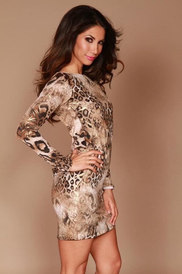 Root Catalog - Leiluna Classic Backless Dress Leopard