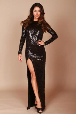 Root Catalog - Leiluna Collection Long Classic Backless Dress With Sequins