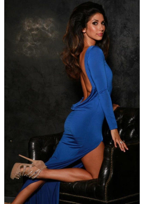 Root Catalog - Leiluna Royal Blue Long Classic Backless Dress