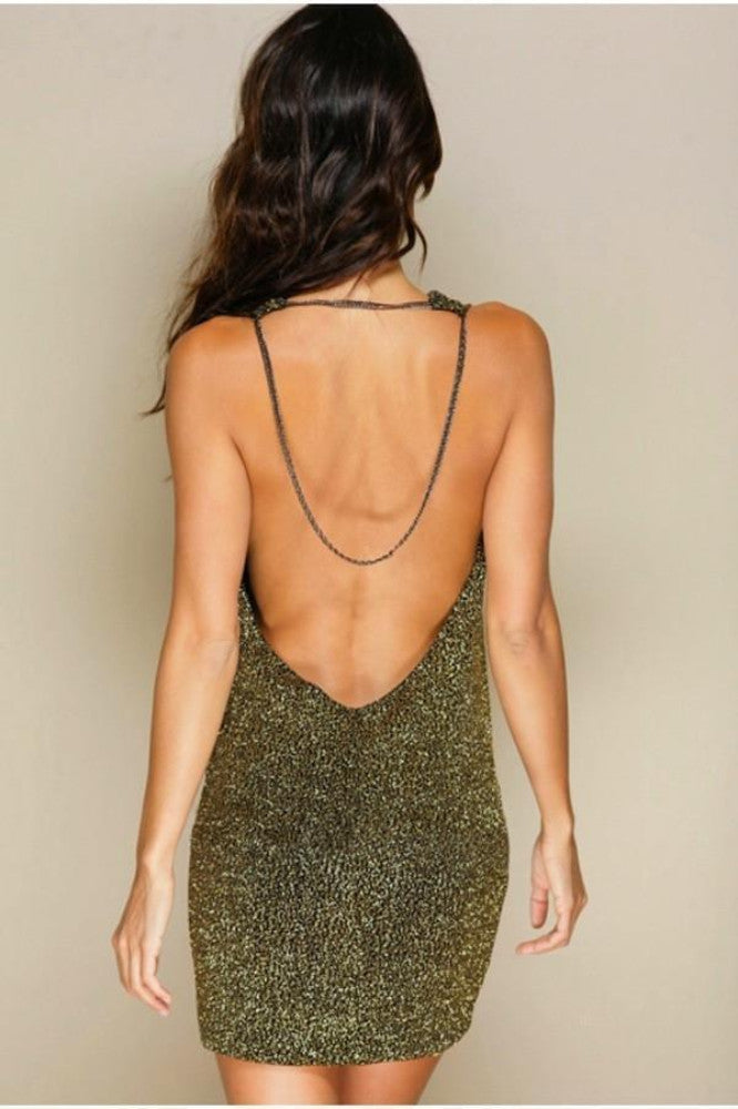 Root Catalog - Leiluna Sparkle Backless Chain Dress