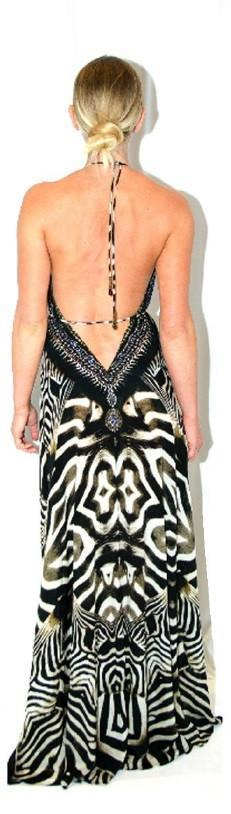Root Catalog - Parides Safari Zebra Print 3 Way Style Long Dress