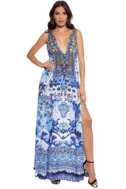 Root Catalog - Shahida Parides Blue Chinoiserie Maxi Dress