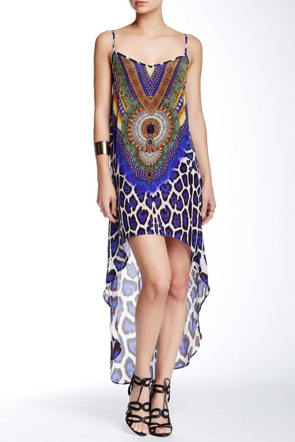 Root Catalog - Shahida Parides Leopard Cami Hi-Low Blue Dress