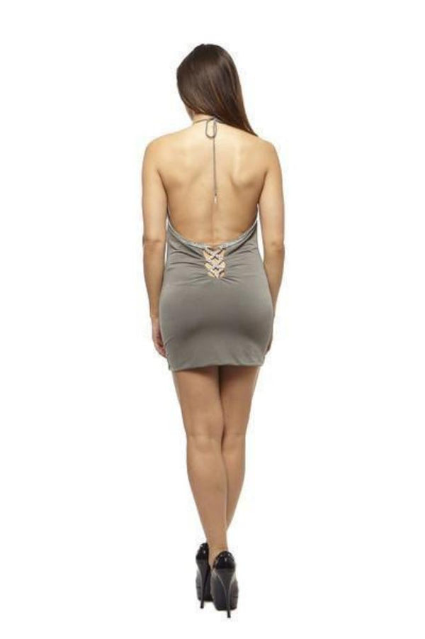 Root Catalog - Vie Sauvage Amy Open Back Halter Mini Dress