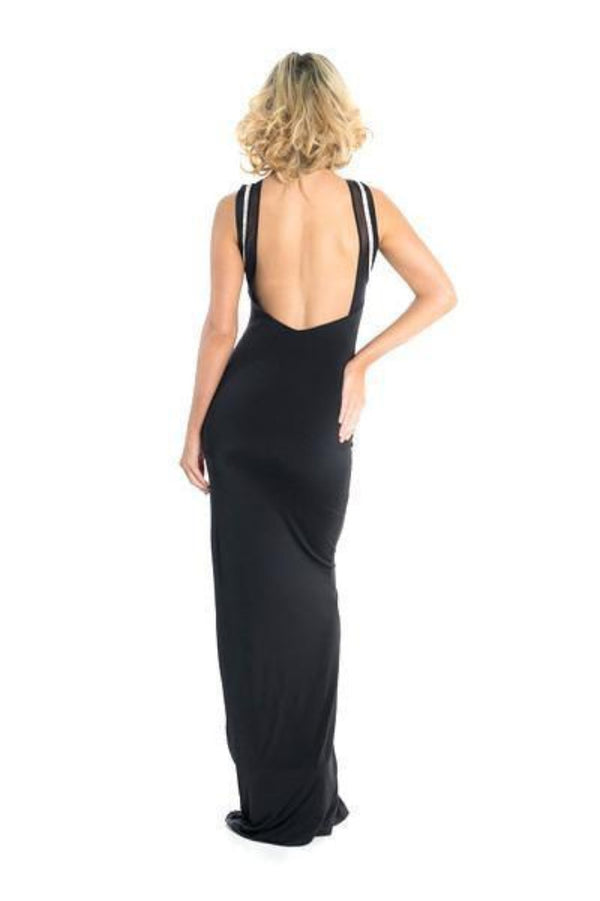 Root Catalog - Vie Sauvage Claire Open Back Crystals Slit Long Dress