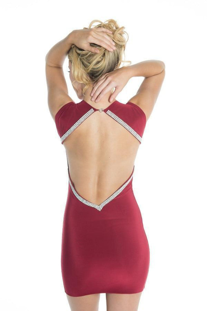 Root Catalog - Vie Sauvage Kristen Crystal Deep V Open Back Mini Dress