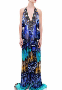 Shahida Parides 3 Way Feather Long Dress