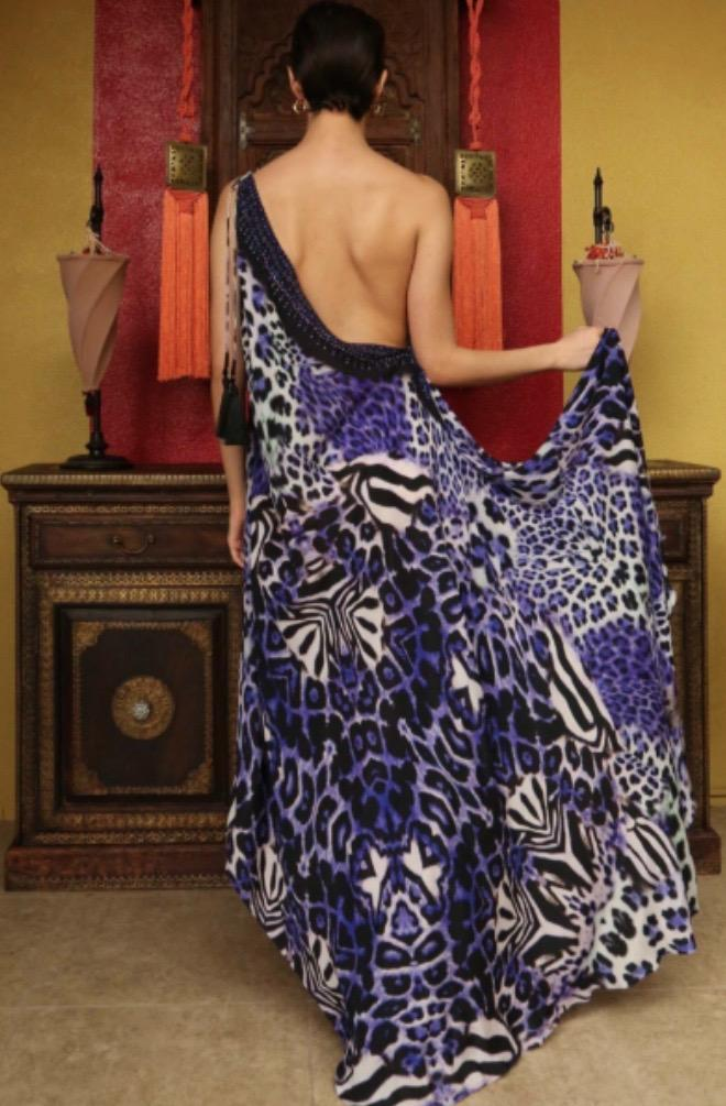 Shahida Parides 3 Way Leopard Print Long Dress