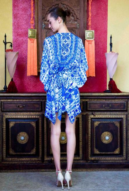 Shahida Parides Blue Porcelain Belted Dress