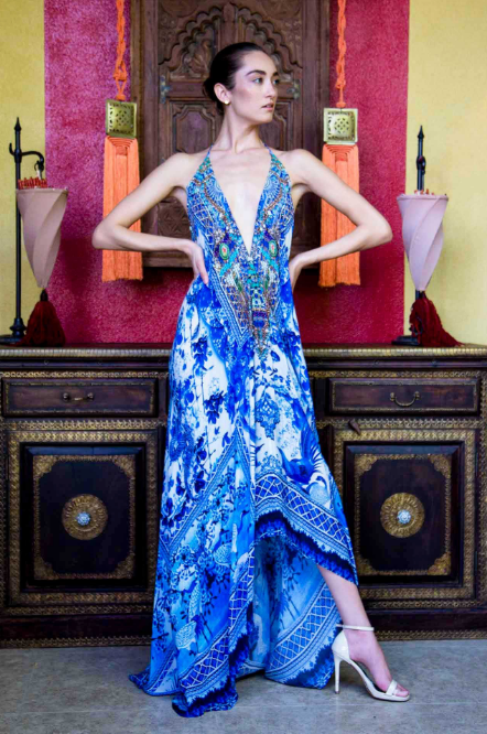 Shahida Parides Chinoserie Plunge Dress