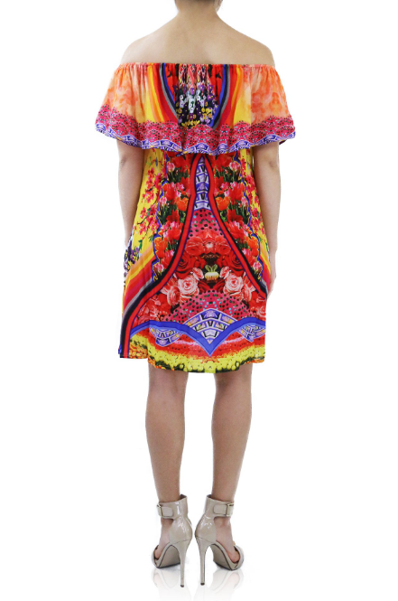 Shahida Parides Floral Rainbow Print Short Ruffle Dress