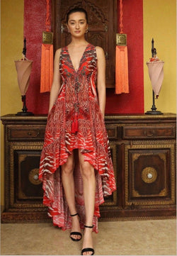 Shahida Parides High Low Safari Print Dress