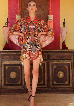 Shahida Parides Orange Tribal Print Batwing Dress