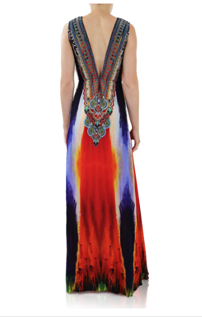 Shahida Parides Poinsettia Stripes Dress