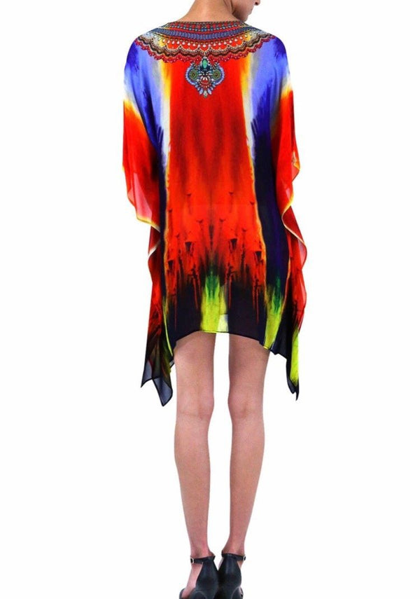 Shahida Parides Printed Kaftan Tunic Short Dress