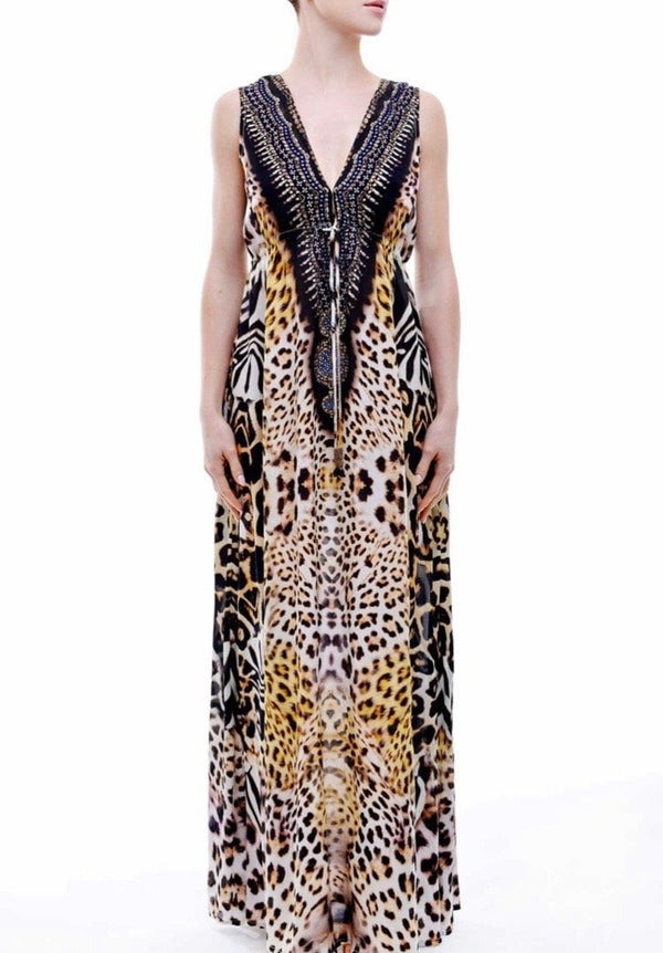 Shahida Parides V-Neck Lace Up Kaftan Dress