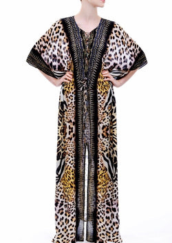 Shahida Parides Short Sleeve Lace Up Kaftan Dress
