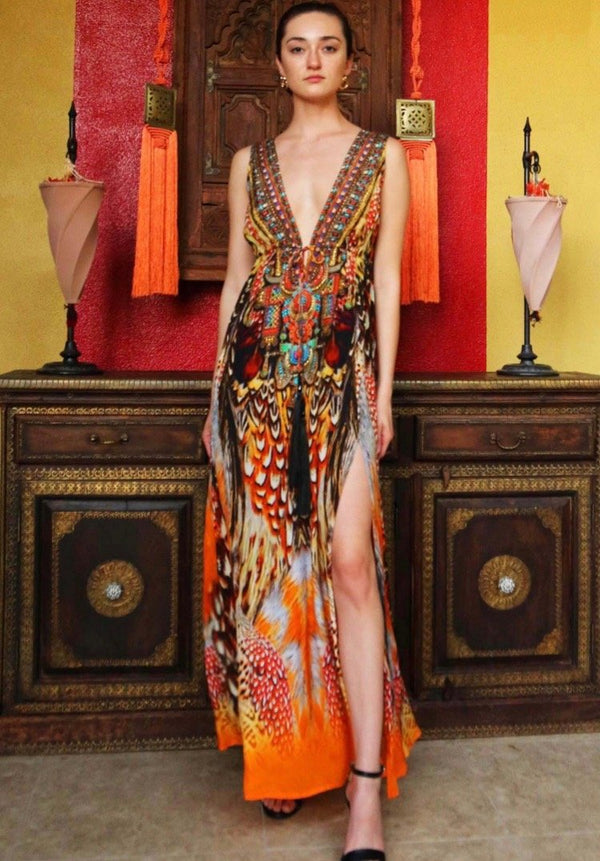 Shahida Parides V Neck Dress in High Slit Maxi