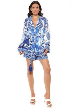 Tops - Shahida Parides Blue And White Chinoiserie Button Down Shirt