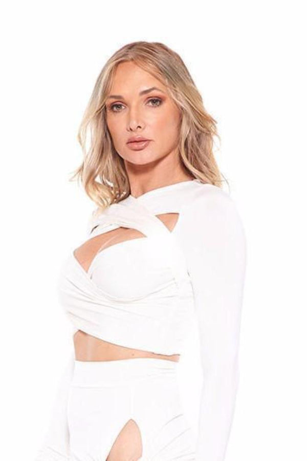 Tops - Vie Sauvage Cory Crop Top With Off The Shoulder Bands