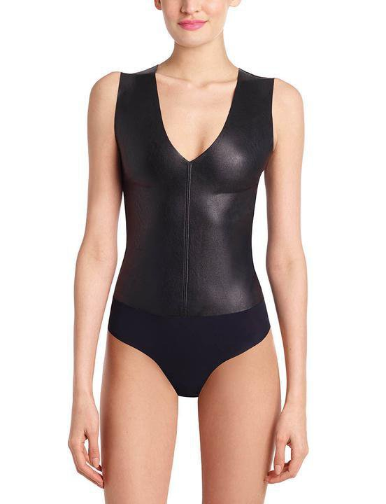 Commando Faux Leather Deep V Bodysuit