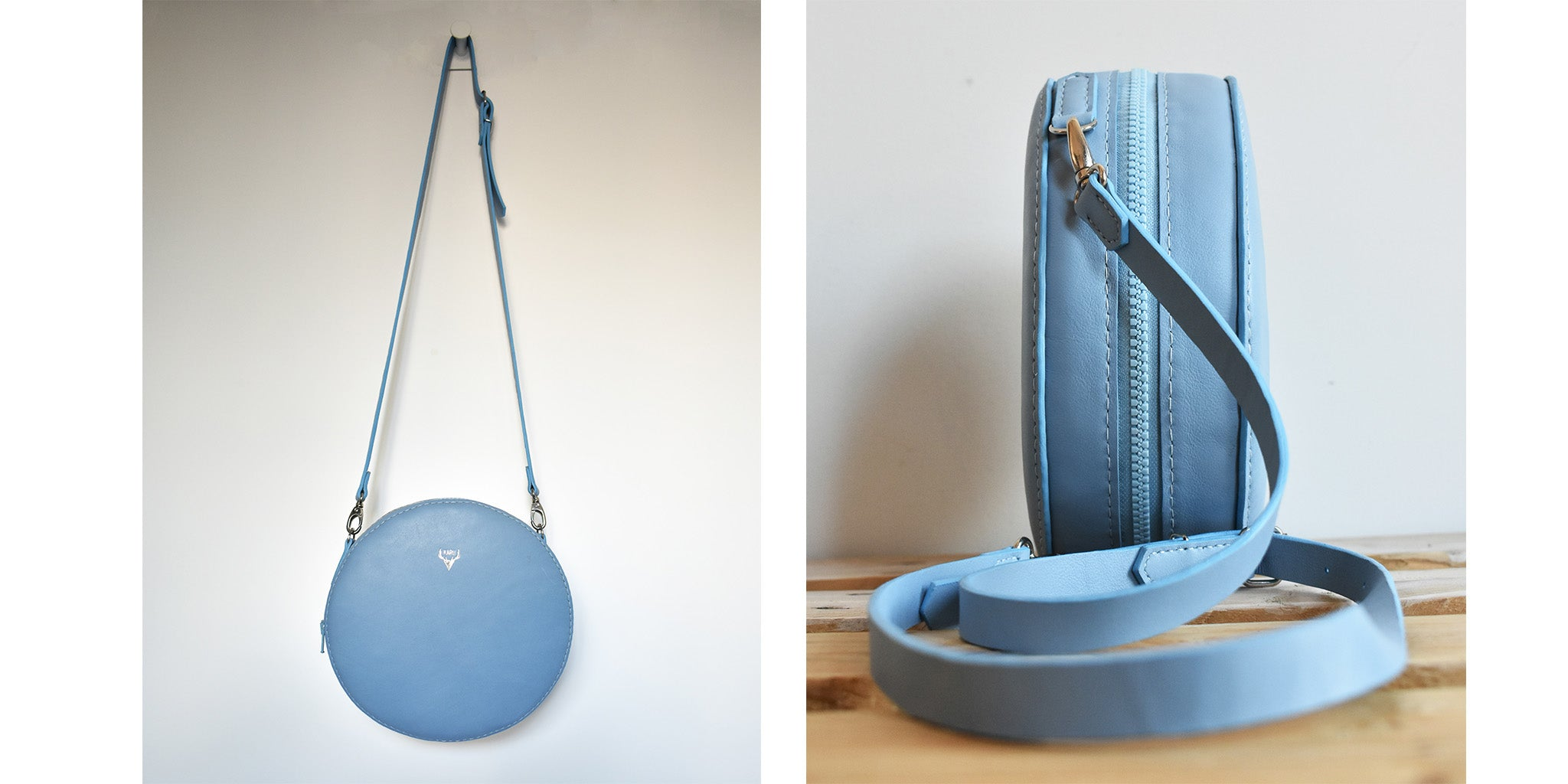 Bespoke Round Bag in baby blue calf leather | Karu Atelier