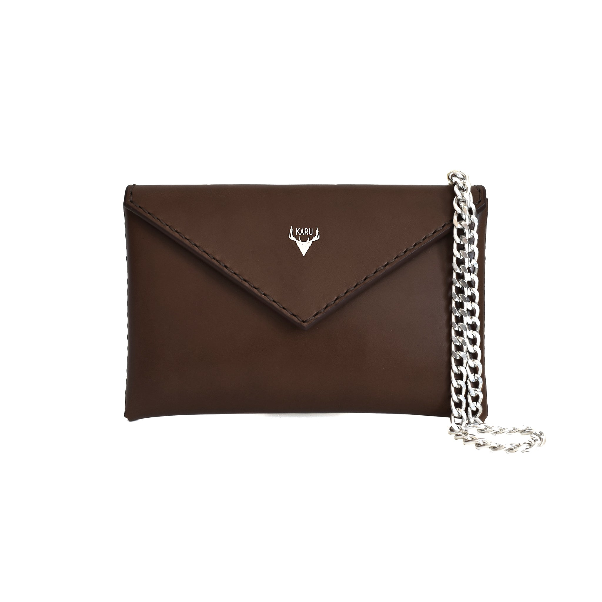 front of handcrafted brown leather envelope handbag clutch bag made from vegetable tanned sustainable leather