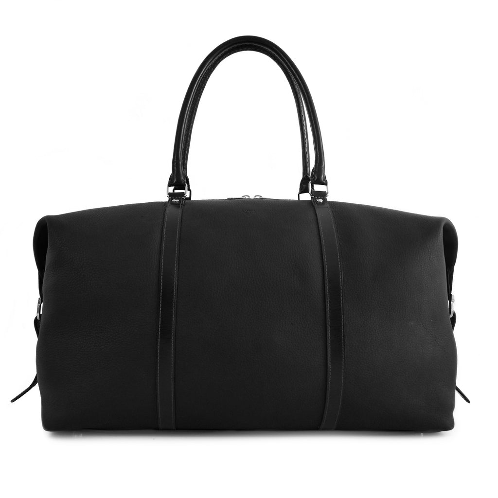 Carryall Travel Bag handcrafted from black leather front picture