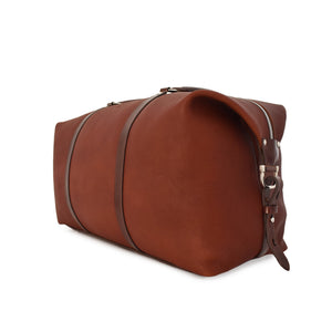 Carryall Travel Bag handcrafted from brown leather angle picture