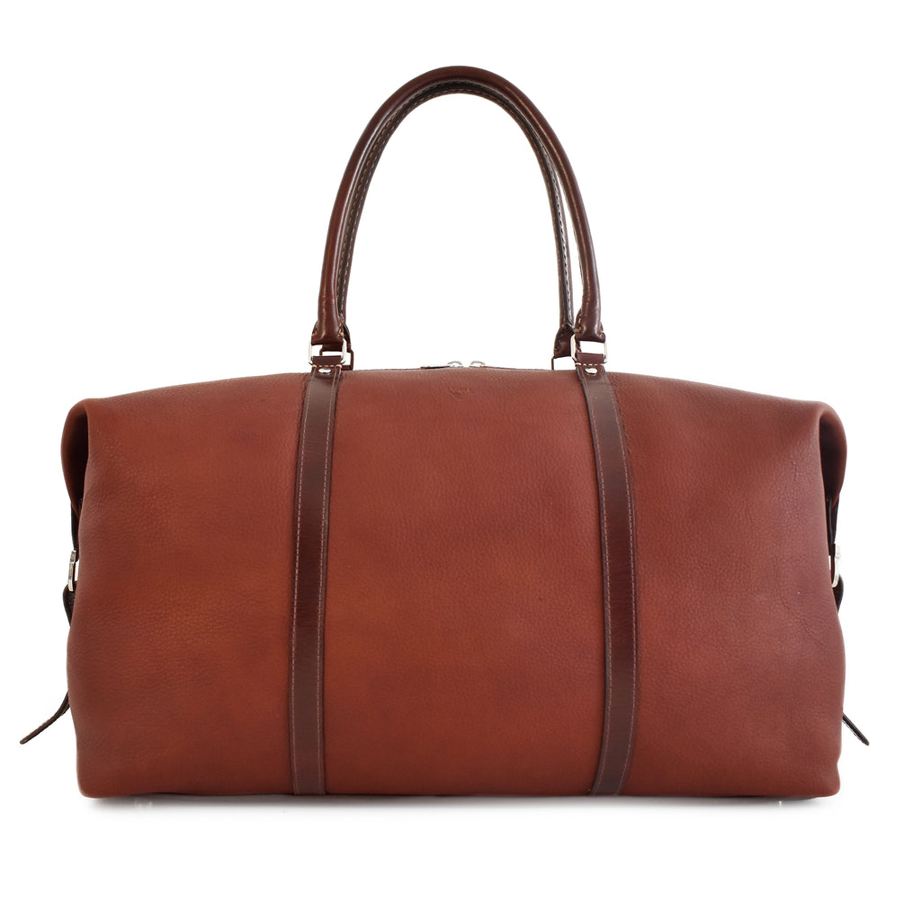 Carryall Travel Bag handcrafted from brown leather front picture