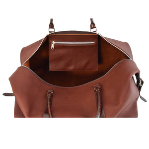 Carryall Travel Bag handcrafted from brown leather interior picture