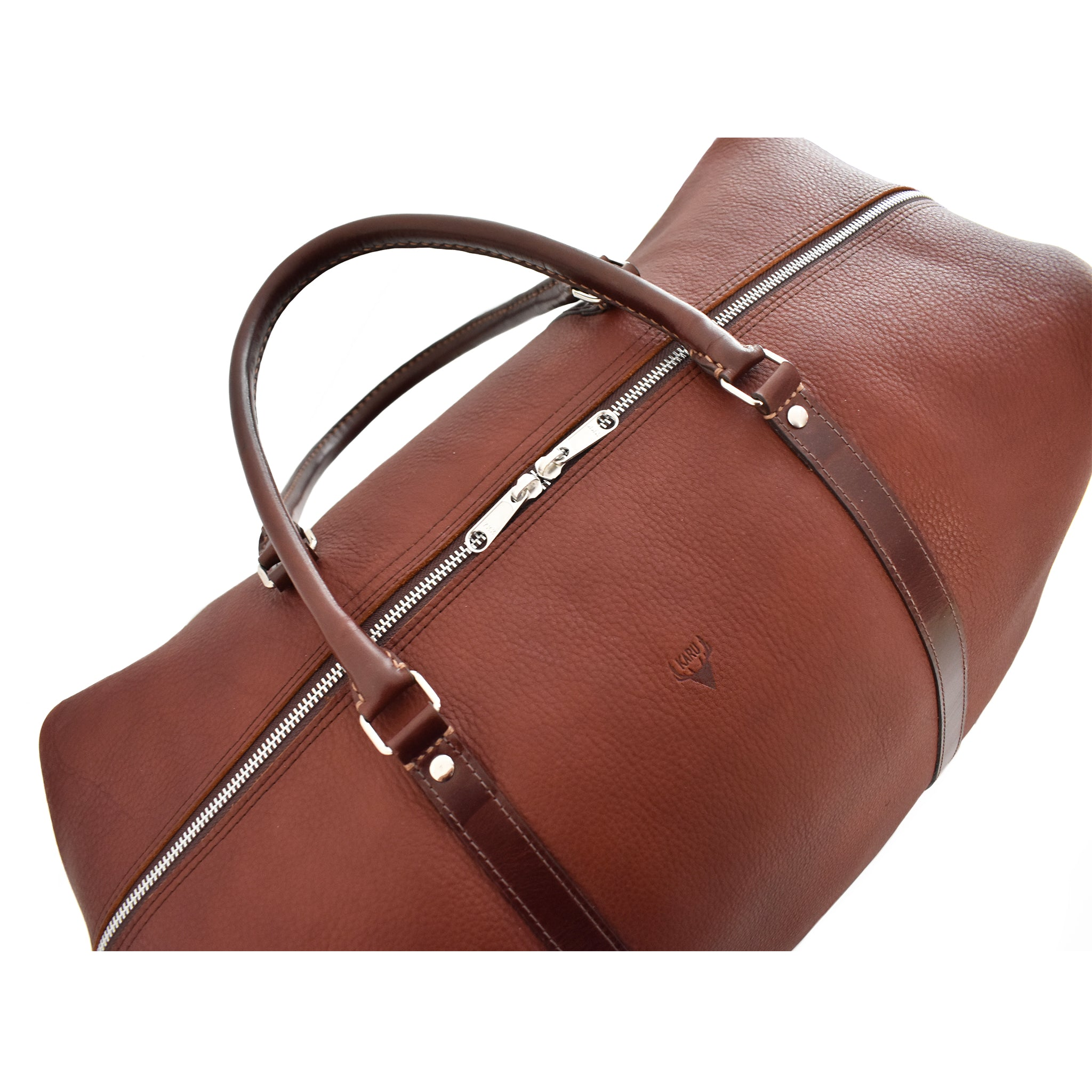 Carryall Travel Bag handcrafted from brown leather top picture