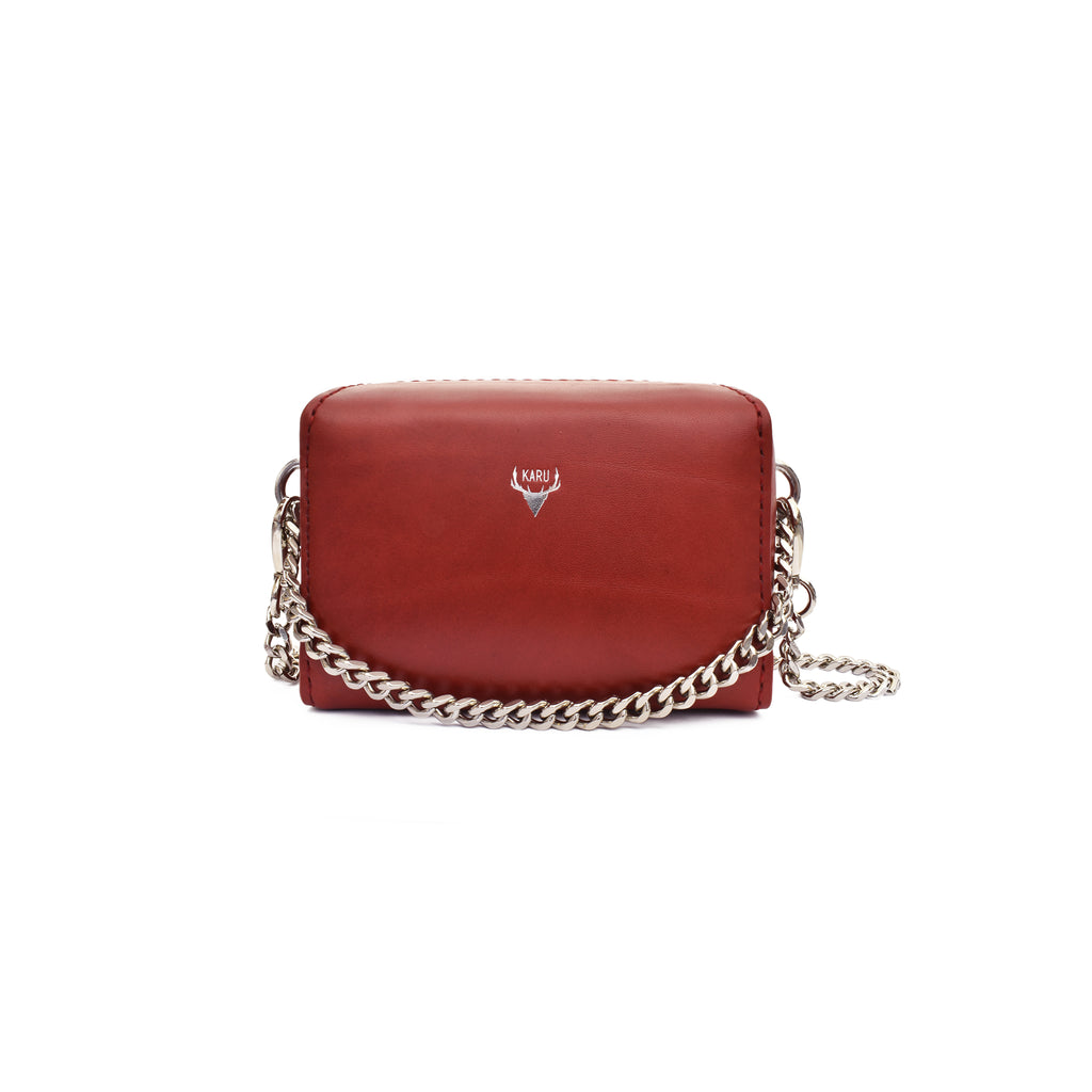 Micro Chain Fold-Over Bag | Burgundy