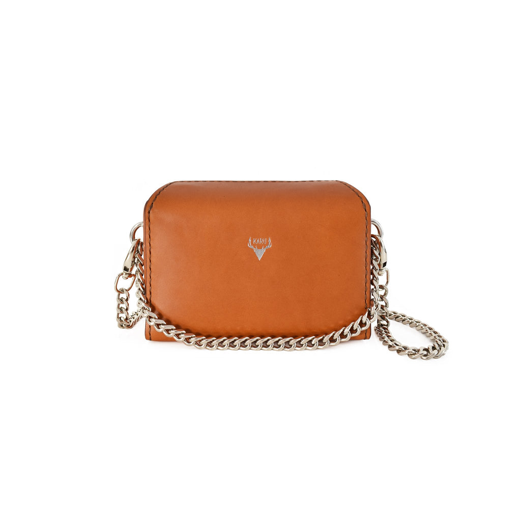 Karu Atelier | Micro Chain Fold-over Bag in Cognac | Front
