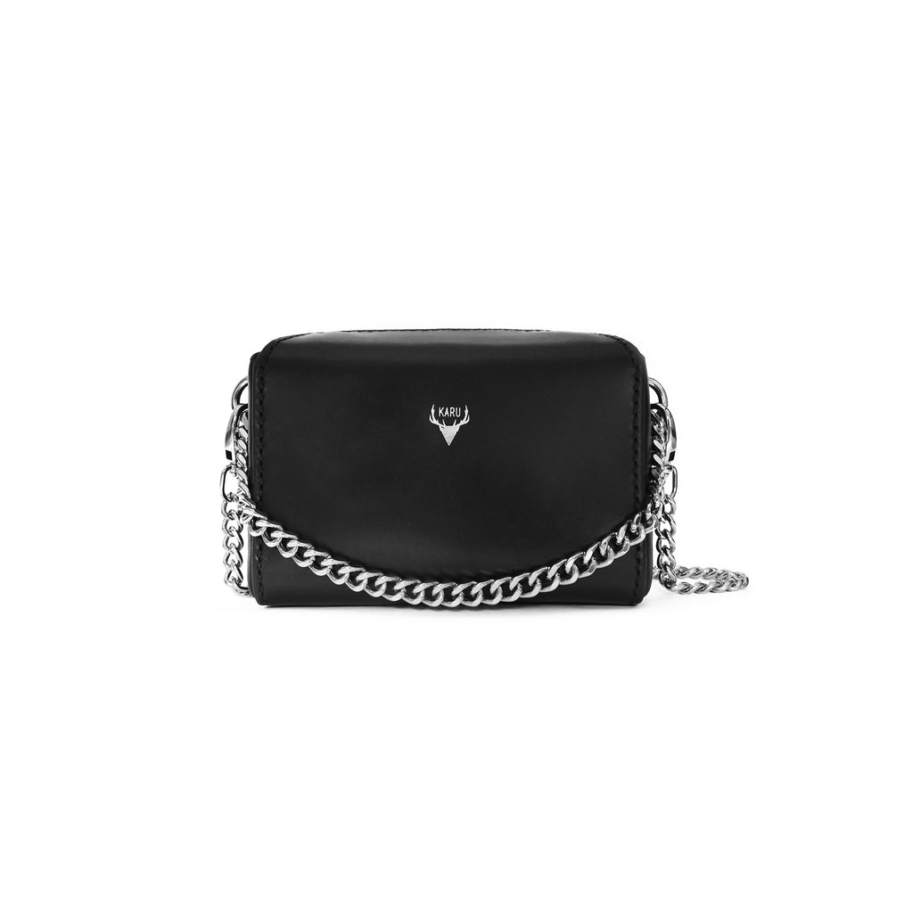 Micro Chain Fold-Over Bag | Black