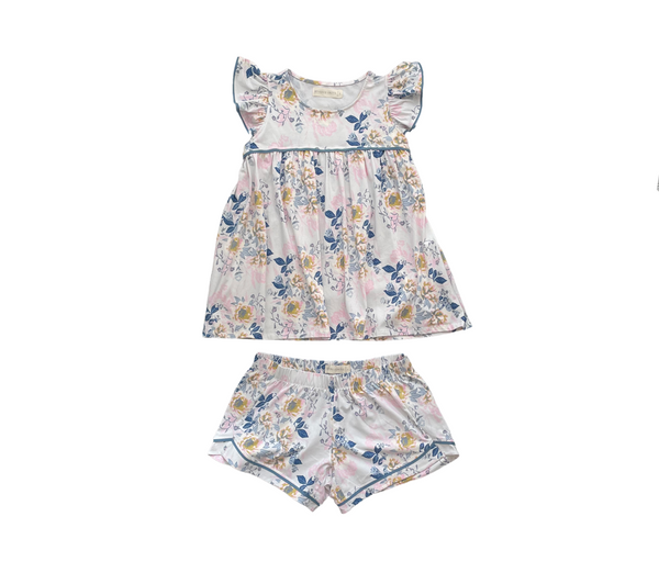 Beverly Drive Ruffle Tank and Shorts Set in Posy with Mystic Trim