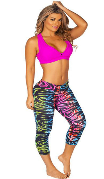 PSYCHEDELIC RAINBOW SPORTS CAPRI PANTS
