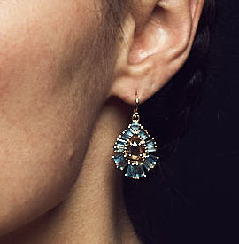 PLEATED AQUAMARINE & BROWN ZIRCON EARRINGS