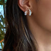 Double Ruched Ear Clips - White Diamond