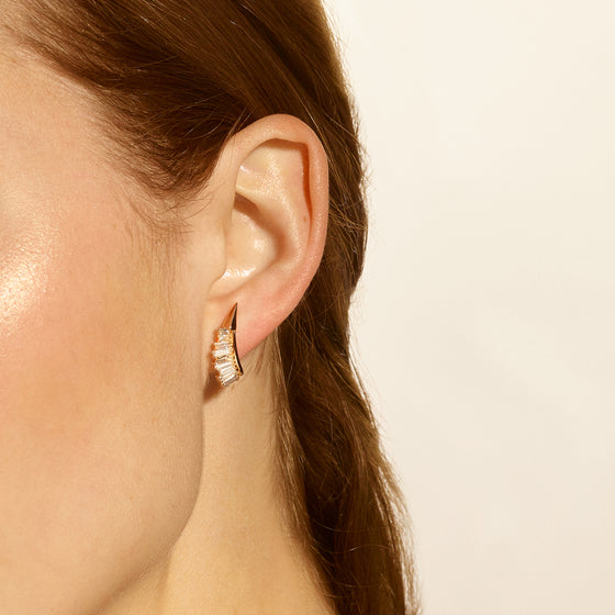 Ruched Ear Clips - Diamond