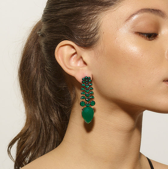 Fishbone Earrings - Green Onyx