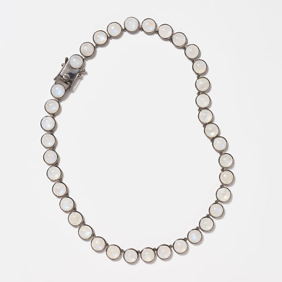 Large Dot Riviere Necklace - Rainbow Moonstone