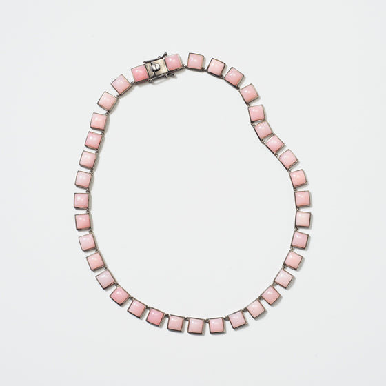Large Tile Riviere Necklace - Pink Opal