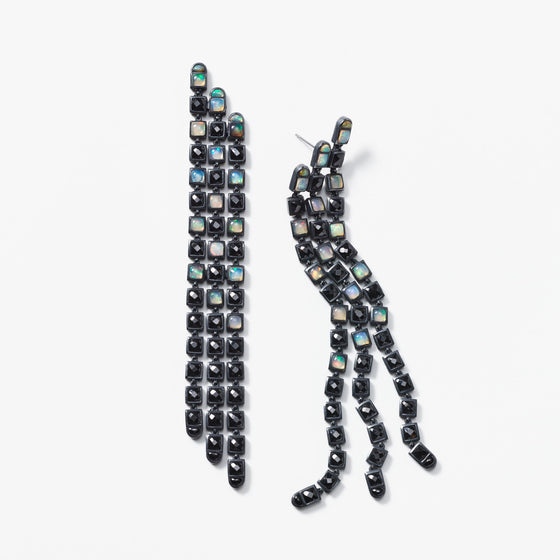 Triple Line Earrings - Black Spinel & Ethiopian Opal