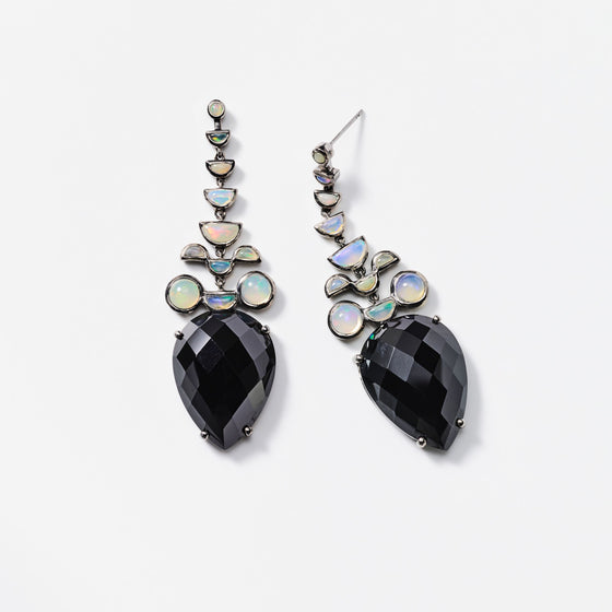 Black Spinel and Ethiopian Opal Earrings