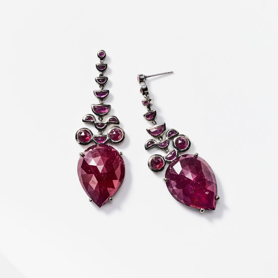 Headdress Earrings - Ruby