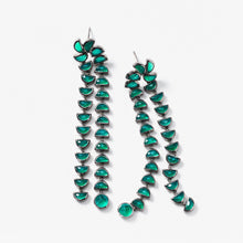 Marabou Earrings - Green Onyx